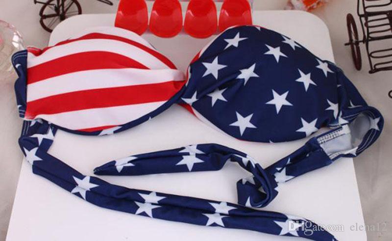 Amerikanische Flagge Bikini Badeanzug Große Brust kleine Brust sammeln Bikini Mode Badeanzug sexy Badeanzug für Damen Mädchen 190168