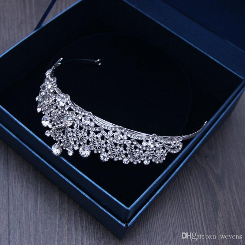 Luxo Prata Cristais Coroas De Casamento Pérolas Shinning Nupcial Tiaras Strass Cabeça Peças Headband Barato Acessórios Para o Cabelo Coroa Pageant