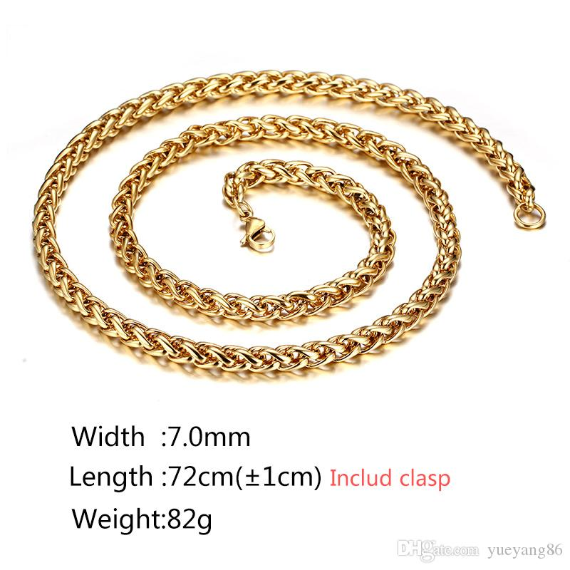"Outstanding Top Selling Gold 7mm Stainless Steel Twisted Wheat Braid Curb chain Necklace 28"" Fashion New Design For Men's Gift"