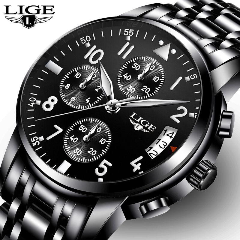 eb20614a05a Compre Relogio Masculino LIGE Mens Relógios Top Marca De Negócios De Moda  De Luxo Relógio De Quartzo Homens Esporte Relógio De Aço Inoxidável À Prova  D   ...
