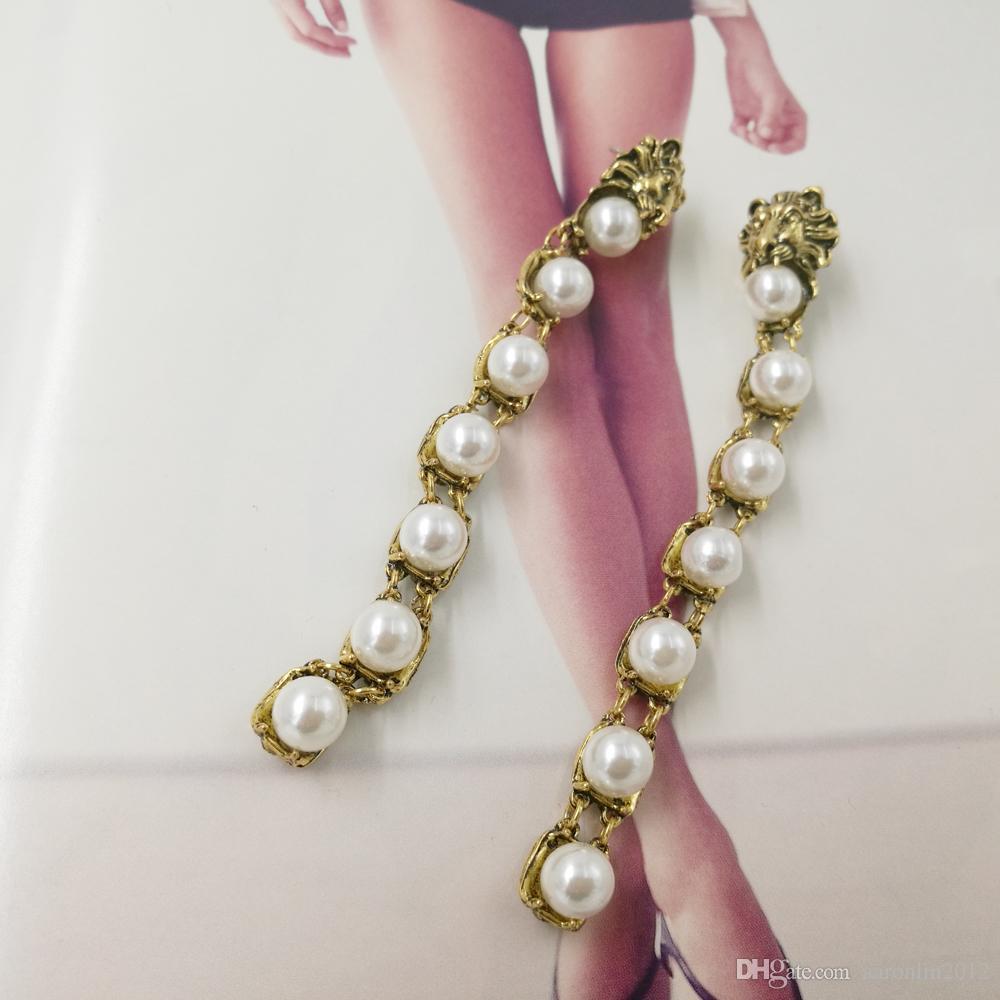الباروك خمر المعادن الأسد رئيس عشيق للنساء أزياء ماركة مجوهرات الزفاف بيرل أقراط قلادة الزفاف brincos