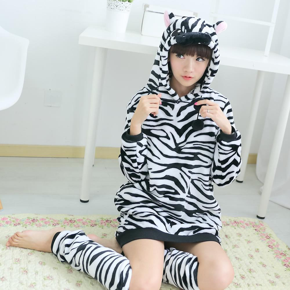 4f7a49b3d Cartoon Ladies Women s Animal Zebra Hooded Robe Bath Robes Bathrobe ...