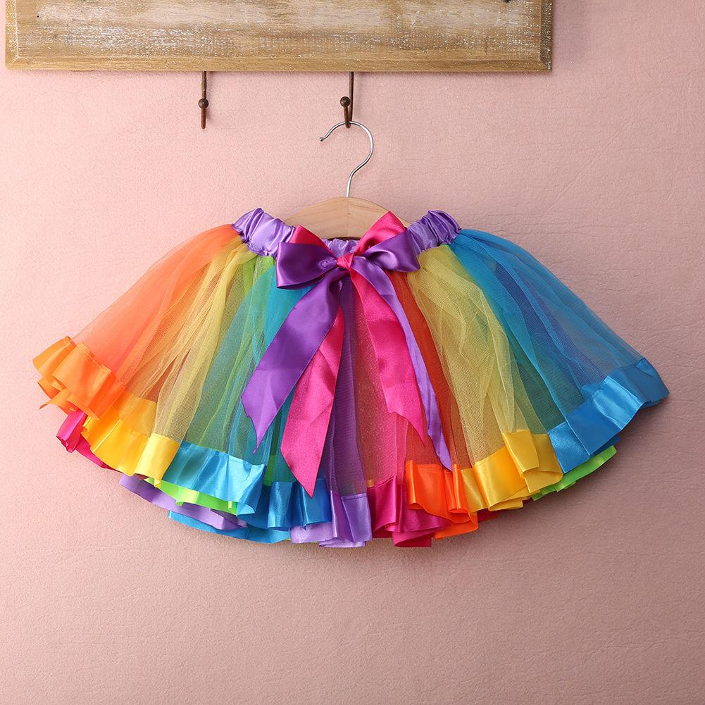 0635402b9c1f 2019 Girls Kids Petticoat Rainbow Pettiskirt Bowknot Skirt Tutu ...