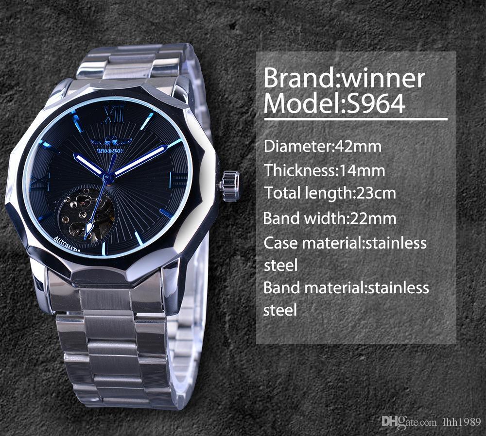 новый победитель синий мода море геометрический дизайн прозрачный каркас из нержавеющей стали ремешок мужские часы топ автоматические модные механические часы.