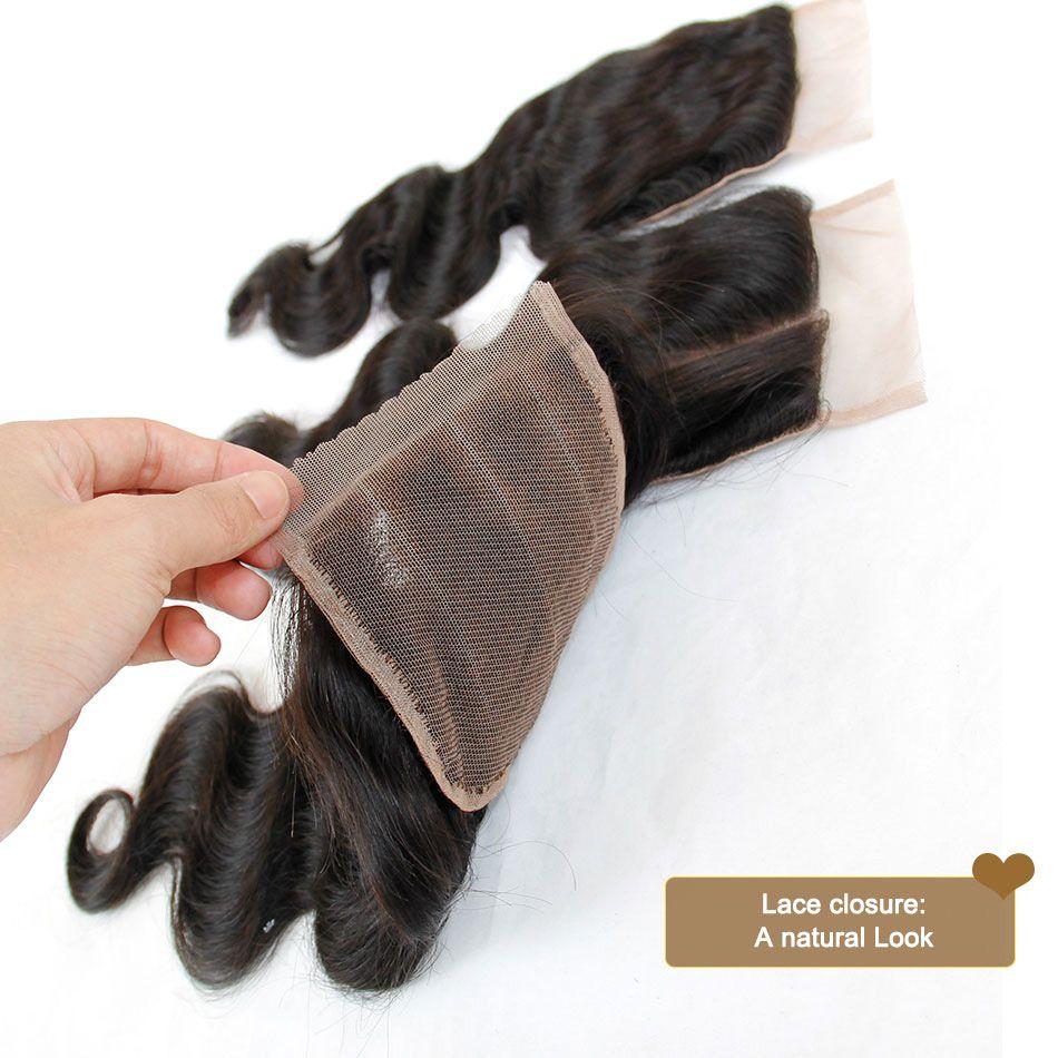 indien vierge cheveux vague de corps ondulé avec fermeture 8a armure de cheveux humains non transformés 4 faisceaux Ajouter 1 pièce fermetures de dentelle trame de couleur naturelle