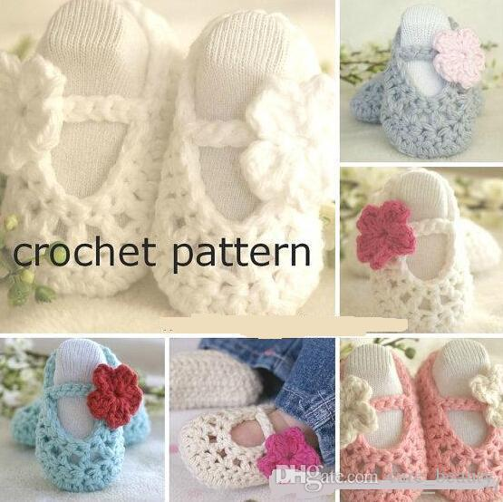 2018 9%off. Crochet Baby Shoes Pattern, Baby Ballerina Slippers,Drop ...