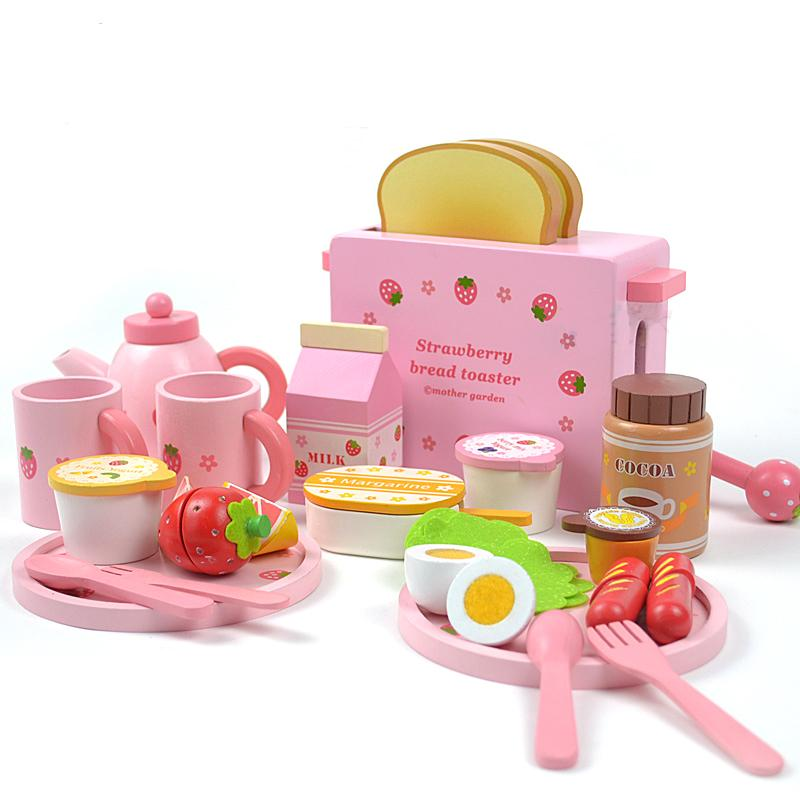 Mother garden children's wood playhouse game toy toast bread toaster kids wooden kitchen toys set