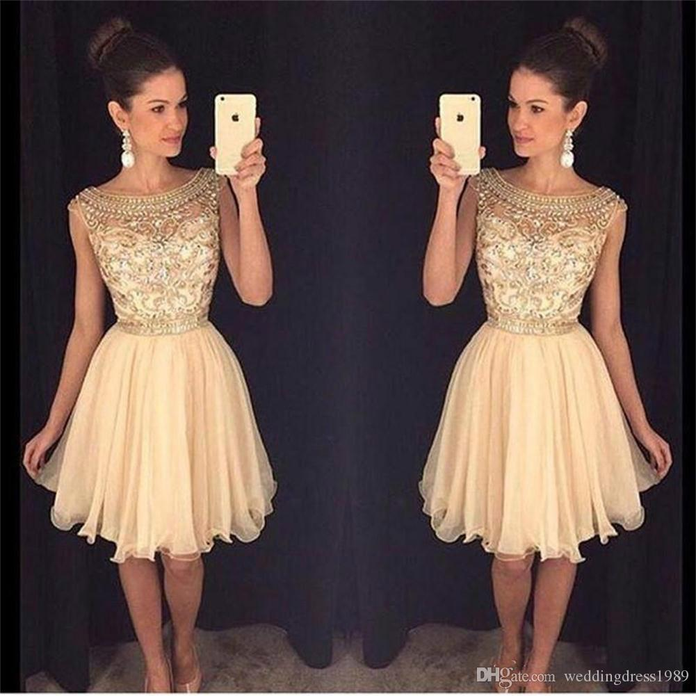 2c6046bb5c4 Beautiful Beads 2018 Sheer Short Gold Prom Dress Cheap Scoop Neck Party  Dresses Sequins Tulle Skirt Short Homecoming Dress Ball Sexy Prom Dresses  Prom Dress ...