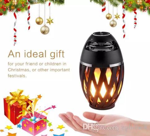 Led Flame Speaker,Bedside LED Lamp Bluetooth Speaker, Outdoor Torch Atmosphere Portable Stereo Speaker with HD Audio and Enhanced Black