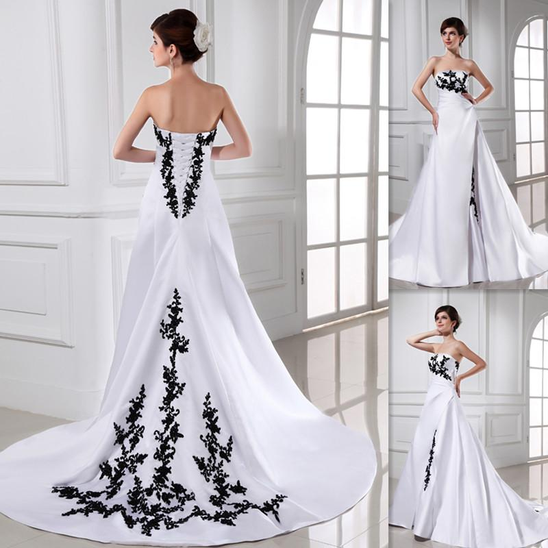 Discount Romantic Black And White Wedding Dress A Line
