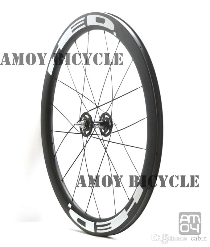 track bike 50mm Clincher Carbon wheels with HED painting fixed gear wheels 700C wheelset fixie bike
