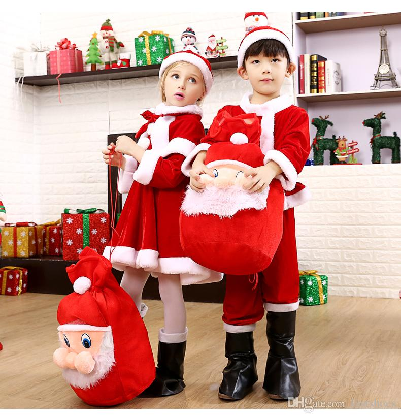 Can Custom Gold velvet Christmas costume children's Santa clothes boys girls clothing without boots and backpacks