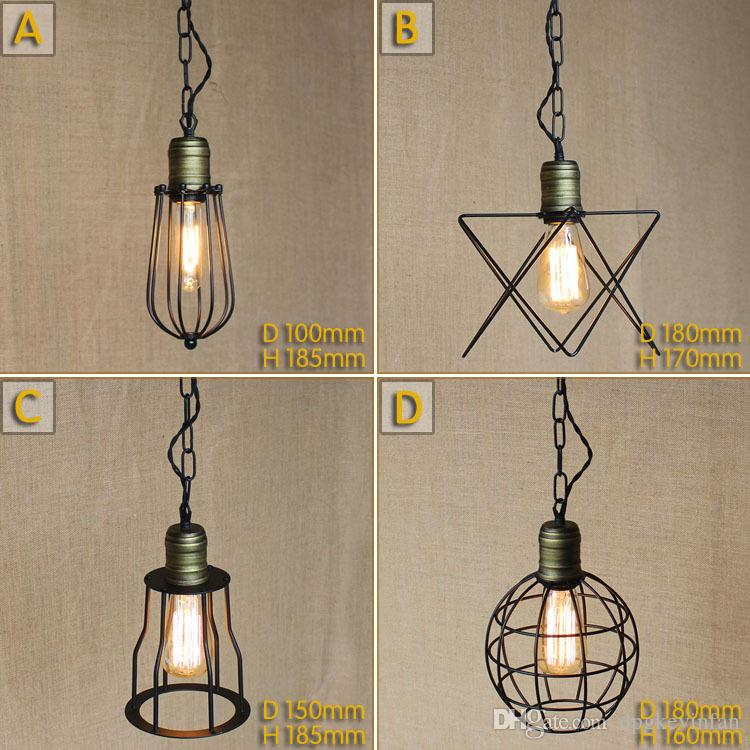 Vintage Small Iron Cages Pendant Lighting Ceiling Lamp American Rural  Industry Pendant Lights Restaurant Kitchen Lighting Fixture Decorative  Pendant ...