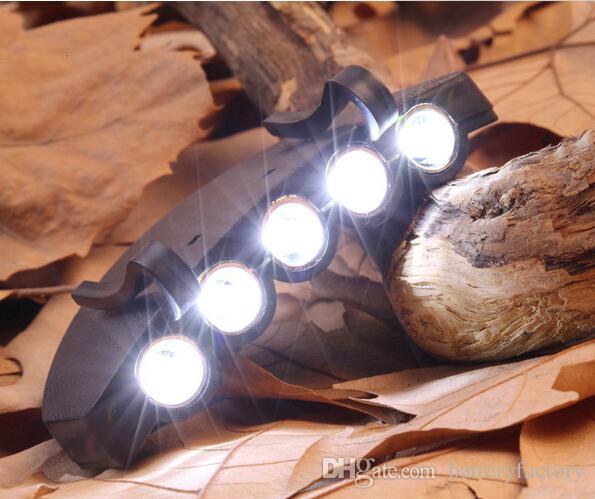 5 Leds Cap Hat Light Clip-On 5 LED Pesca Camping Luz de la cabeza HeadLamp Cap con 2 * baterías CR2032 cell