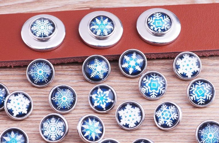 JACK88 Nueva Moda Mix Style 60 unids / lote Nieve 12mm Mini Glass Snaps Botón a Presión Del Ginger Charm Fit Encanto Pulsera M698