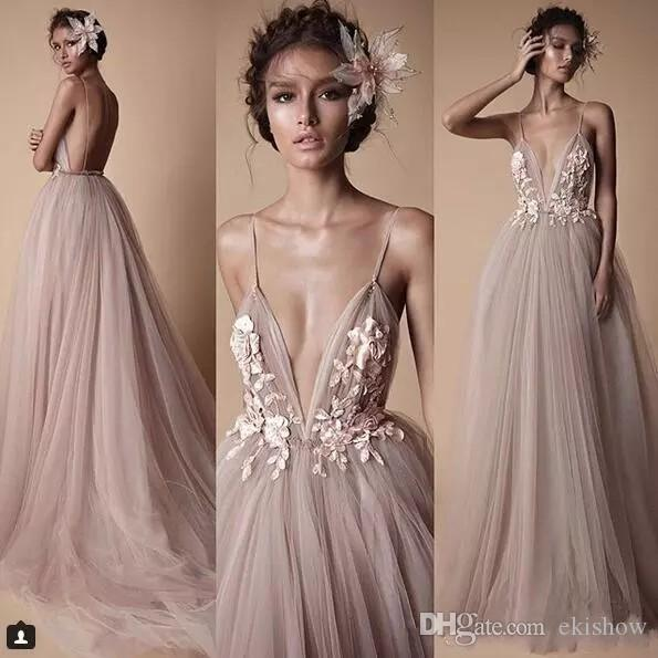 2018 Berta Sexy Deep V Neck Spaghetti Evening Dresses Sheer Tulle Lace Floral Sweep Train Backless Holiday Wear Formal Party Prom Dress
