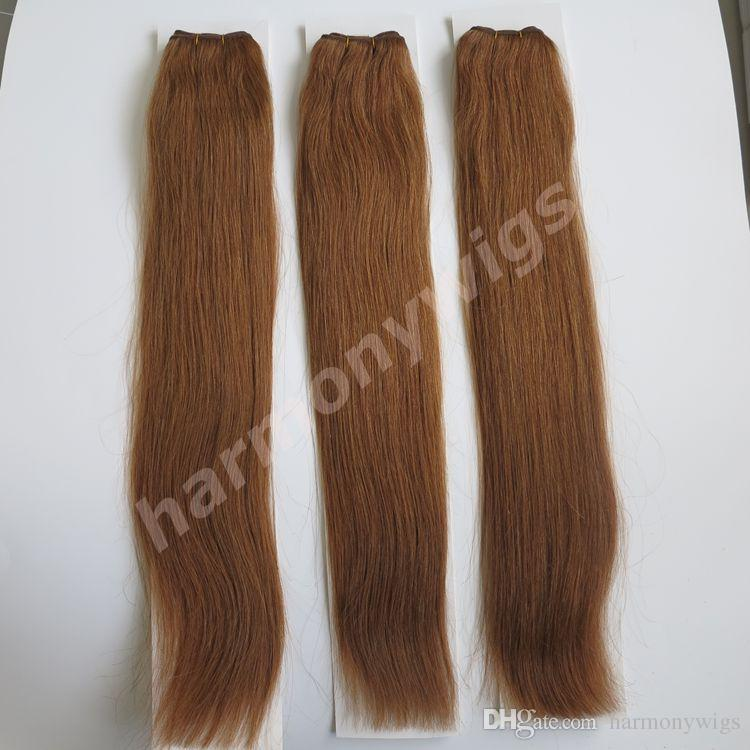 100% paquetes de cabello humano brasileñas tramas para el cabello 100g 20 pulgadas # 8 / marrón claro sin derramar extensiones de cabello indio directo