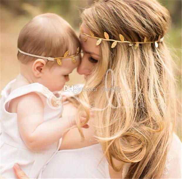 2018 Nueva Moda Adulto Bebé Hojas de Olivo Bandas de Pelo Hoja de Oro Bandas de Pelo Elasticidad Niños Niña Mujeres Abrigo de La Cabeza DCBJ914