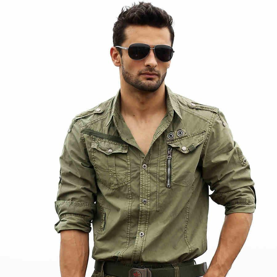 2018 Mens Cargo Shirts For Men Long Sleeved Plus Size Military Uniform Loose Shirt Shirt Mens ...