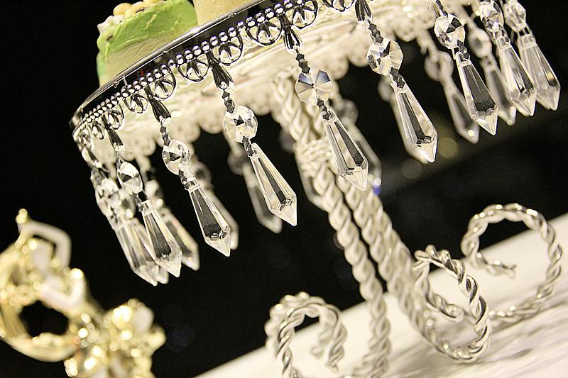 9'' Silver Round Glass Crystal Metal Dessert Cupcake Stand Wedding Table Decorations cenpterpieces