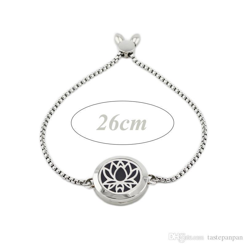 Difusor de acero inoxidable 316L pulsera medallón 25 mm ajustable Lotus forma magnética perfume pulsera medallón con la cadena