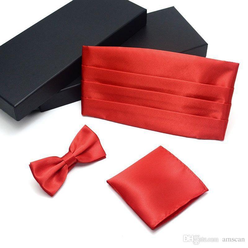 Champagne Vestido formal para hombre Cummerbund + Bowtie + Hanky Sets es Caja de regalo Hombres Hanky Cummerbund Bowtie Neck Tie Set