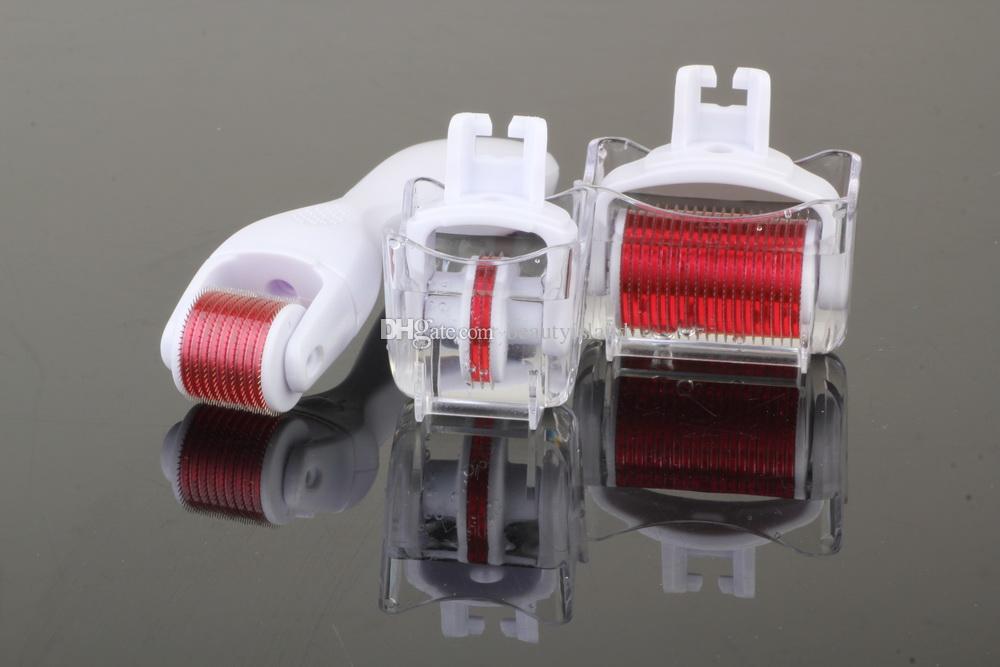 Micro naald therapie huidrol 3 in 1 derma roller, 3 afzonderlijke roller hoofden met verschillende naaldcellen 180c / 600c / 1200c schoonheid derma roller