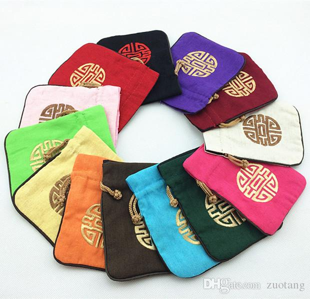 Unique Chinese style Small Large Linen Gift bags Jewellery Pouches Drawstring Embroidered Lucky Packaging Decorative Storage Bag