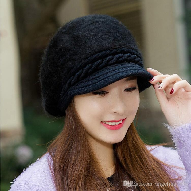 Fashion Winter Warm Hat For Women Rabbit Fur Berets Fashion Flower Ladies Hats Boina Feminina beanie knitted wool caps