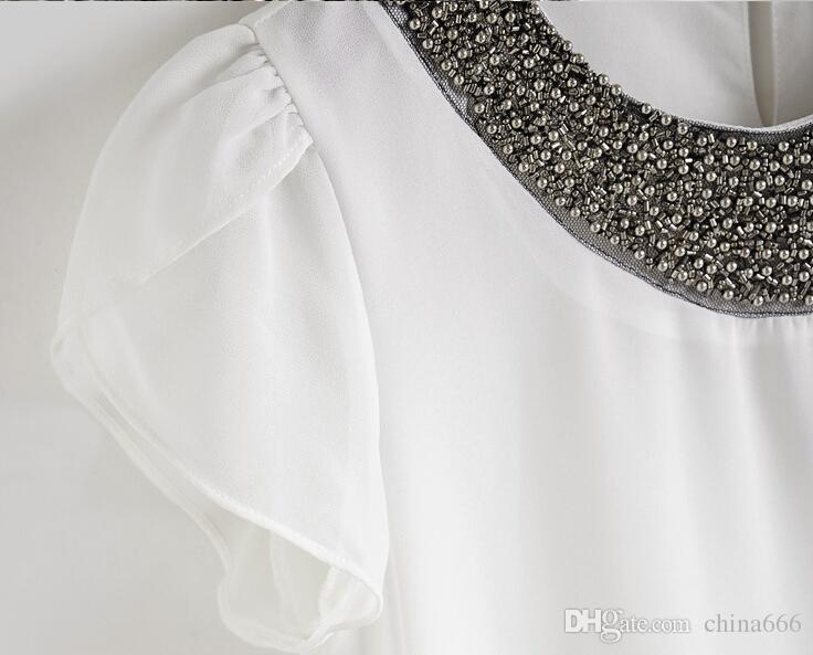 Nuove donne di moda UE allentati Big Size Chiffon Casual Blouss vintage / perline O-Collo, Estate pullover