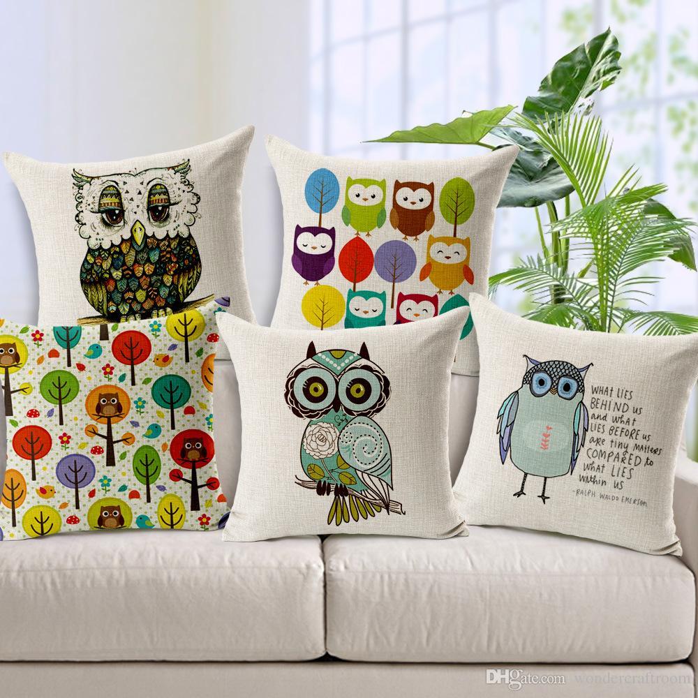 Cartoon owls love cushion cover hand paintings bird owl - Cojines decorativos para sofas ...