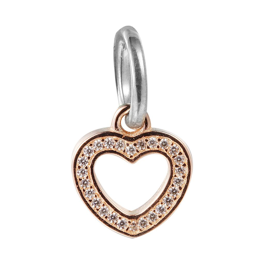 2018 Dangle Golden Heart Symbol Of Love With Clear Cz 100 925