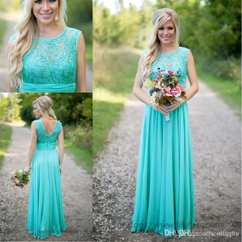 2017 New Arrival Turquoise Bridesmaid Dresses Cheap Scoop Neckline Chiffon Floor Length Lace V Backless Long For Wedding Bridesmaids