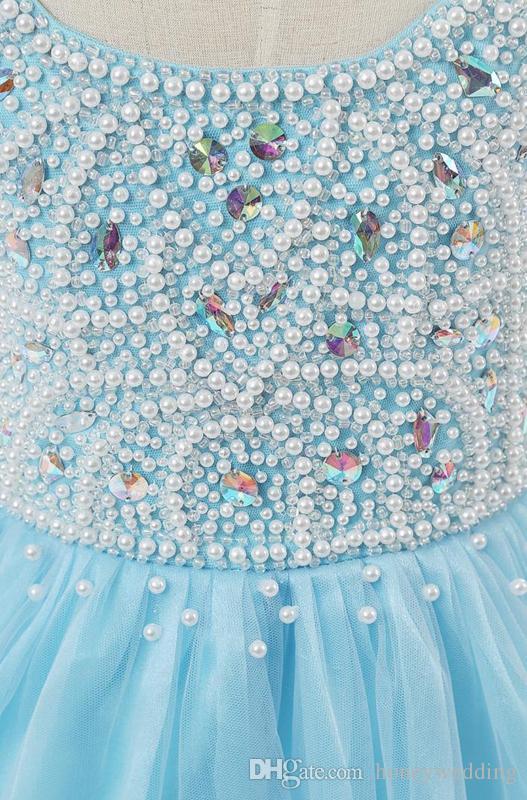 Mooie baby blauwe bloem meisjes jurken voor bruiloften met ronde hals zware kralen ruches baljurk kleine kinderen pageant feestjurk