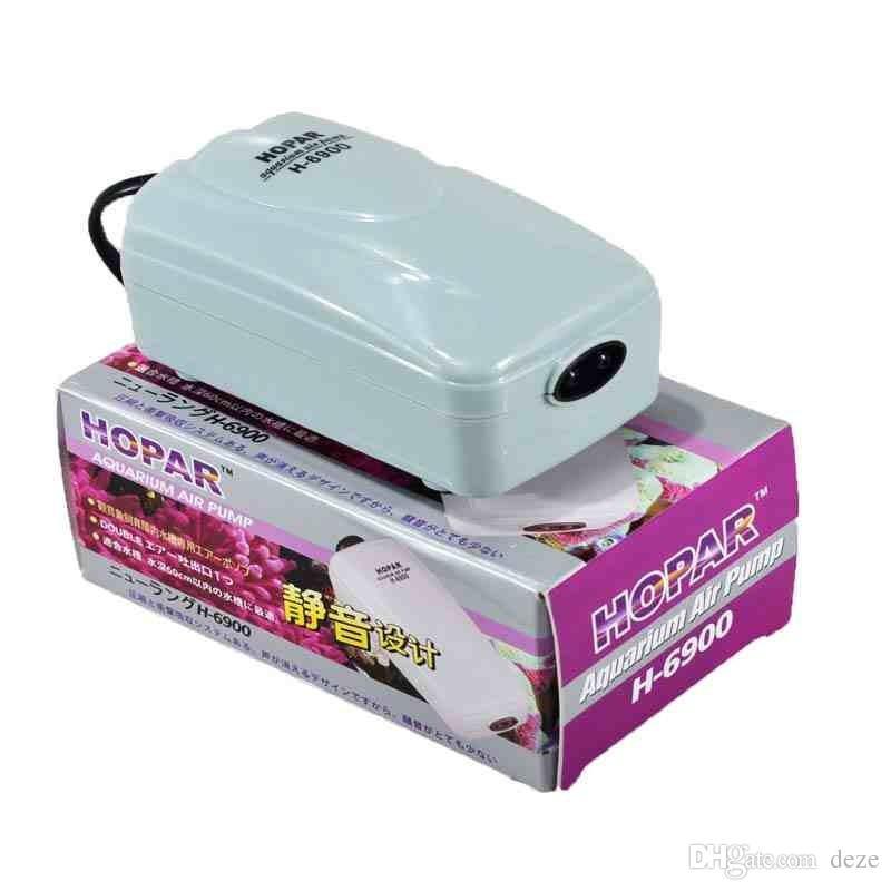 Super silencieux H-6900 2.5W 1.1L / Min pompe à air d'aquarium Débit d'air à deux sorties pour aquarium Adjustbale Oxgen pompe jusqu'à 100 gallons