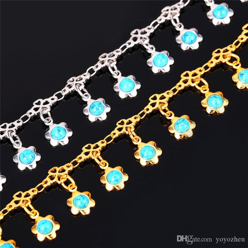 Femmes Bleu Turquoise Pierre Charmes Chaînes de cheville Or 18 carats / Platine plaqué Sandale bijoux Bracelets de cheville d'été Bracelets