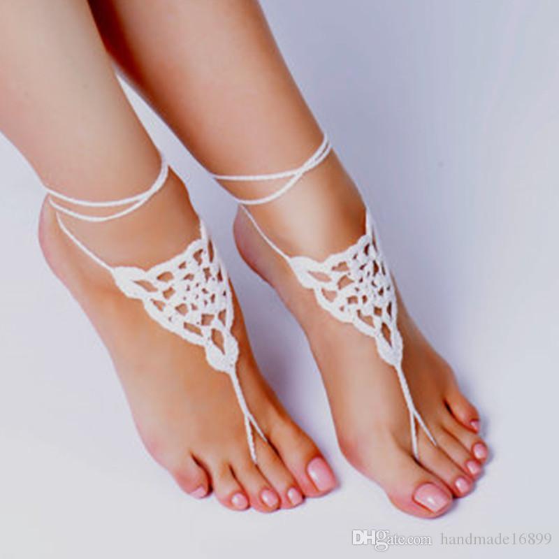 Handgemachte Crochet Weiß barfüßigsandelholze, Fuß Schmuck, Barfuß Sandalen, Strand-Hochzeit, handgemachte Schuhe