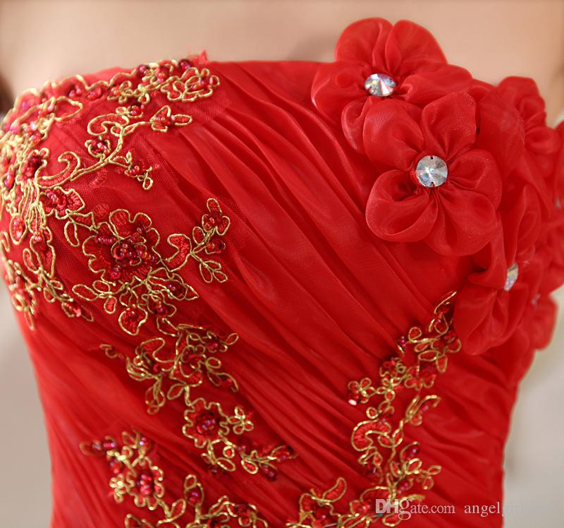 RED Real Photo Cheap ball gown wedding dress Lace Up Ball Wedding Dresses 2018 Vintage Plus Size Bridal Dress Wedding Gown