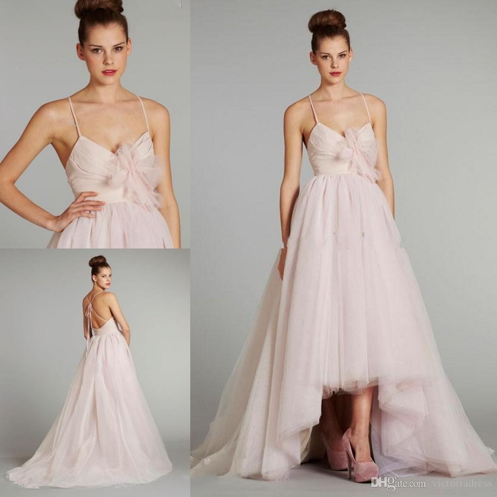 Simple Tulle High Low Wedding Dresses Sexy Spaghetti Straps A Line Style Crisscross Backless Bride Dress White Light Pink Beach Gown Outdoor