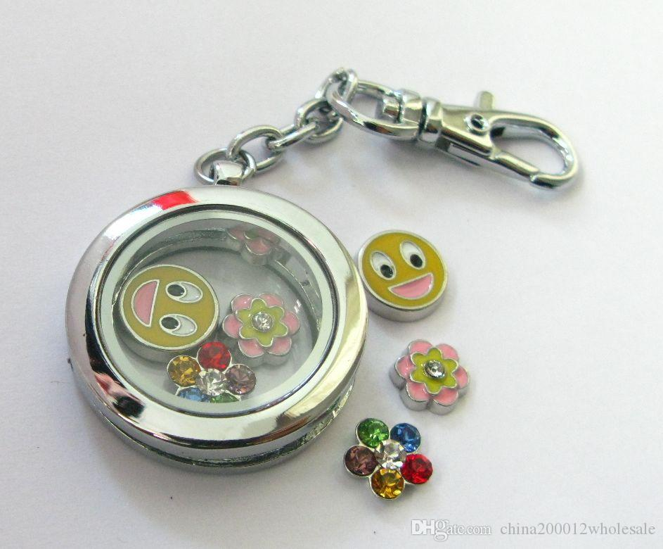 magnetic zinc alloy 30mm round glass floating locket keychain and floating locket charms love note