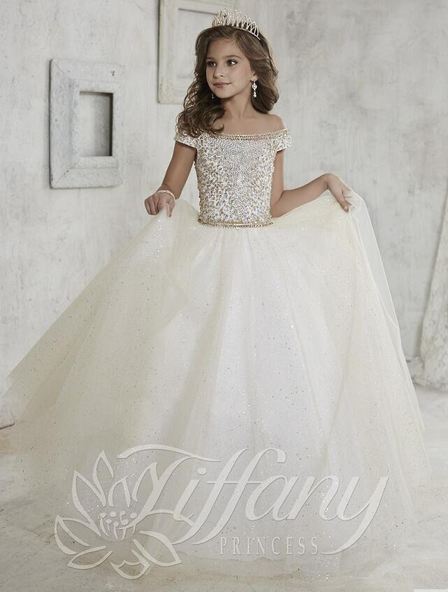 Cheap Gorgeous Off Shoulder Girls Pageant Dresses Beaded Crystal Sequin Sweep Train Ball Gown