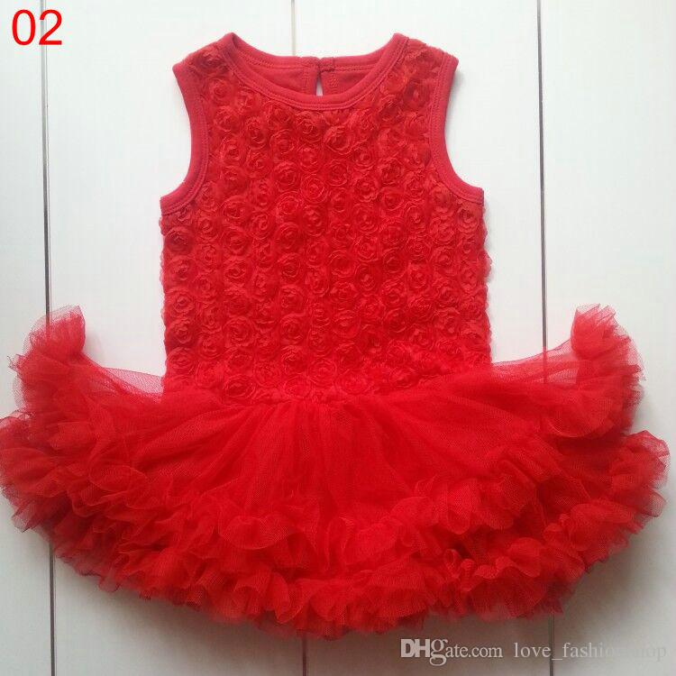 10 färger 0-2T Baby Rose Flower Lace Romper Tulle Klänning Ärmlös Straps Solid Teddy Suit Set Toddler Girl Clothes One-Piece Baby Clothes