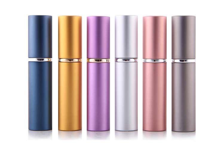 DHL Free Ship Perfume Bottle 5ML Aluminio Anodizado Perfume Compacto AftersHave Atomizador Atomizador Fragancia Vidrio Arquitectura-Botella Color Mixto