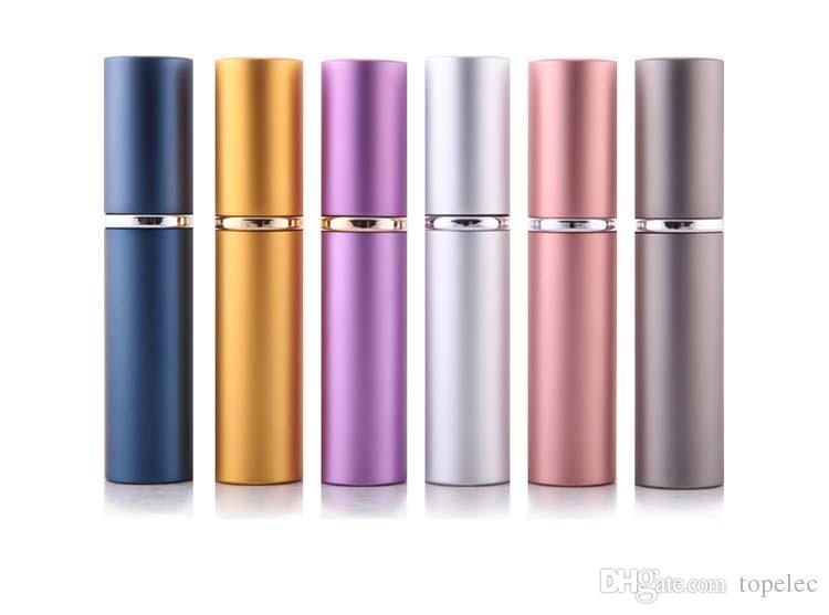 DHL-freie Schiff-Parfüm-Flasche 5ml Aluminium eloxiertes kompaktes Parfüm Aftershave Atomiser Zerstäuber-Duft-Duft-Duft-Flaschen-Mischfarbe