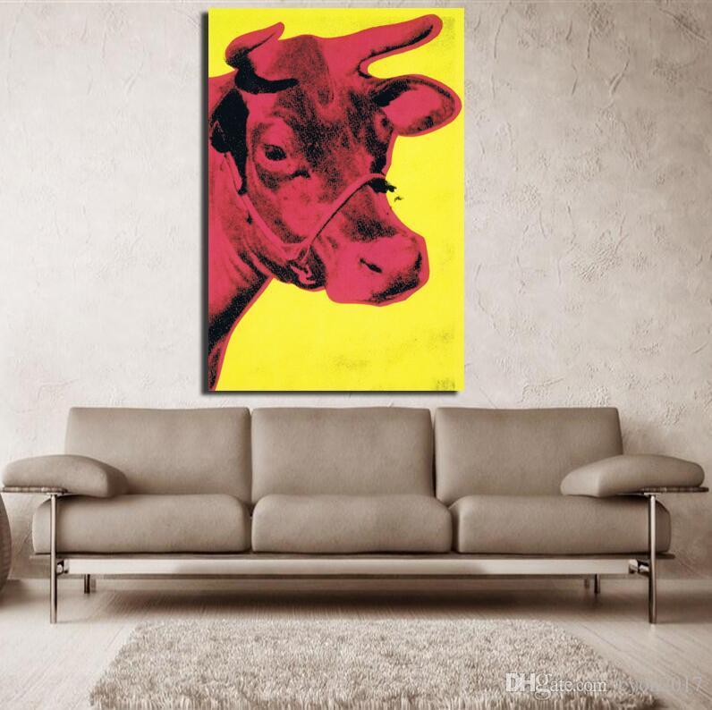 2017 Andy Warhol Vaca 1966 Amarillo y rosado arte pop impresión pintura de la pared foto Inicio abstracto arte decorativo impresiones de imágenes