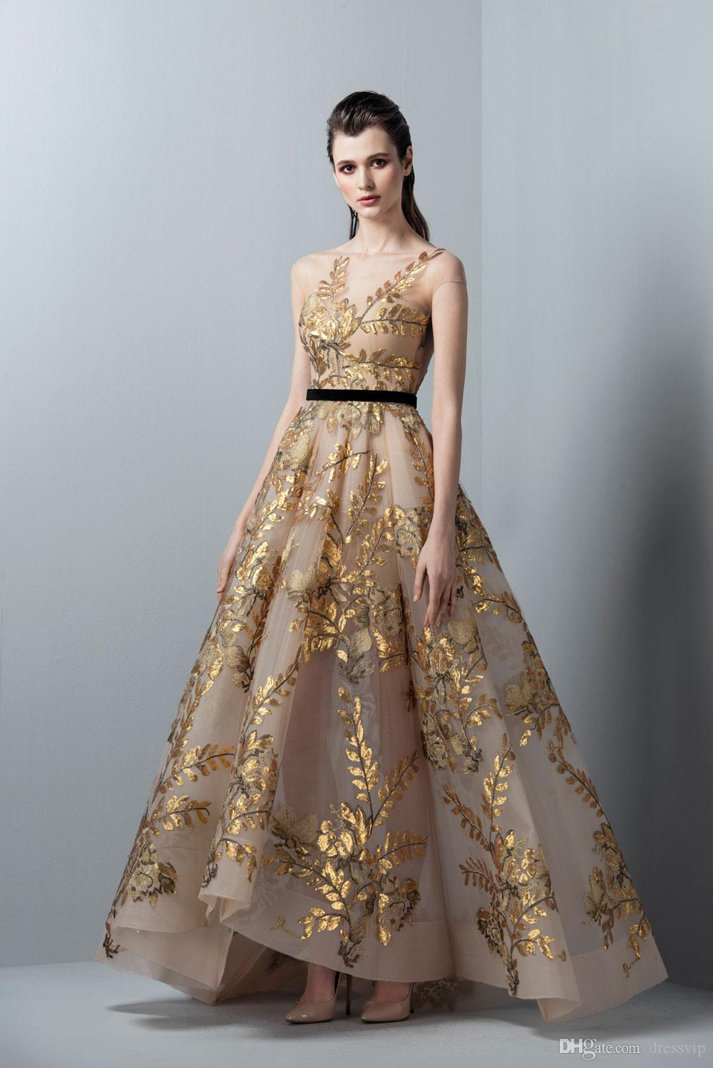 Saiid Kobeisy Prom Dresses Gold Short Sleeve Sheer Bateau Neck Floor