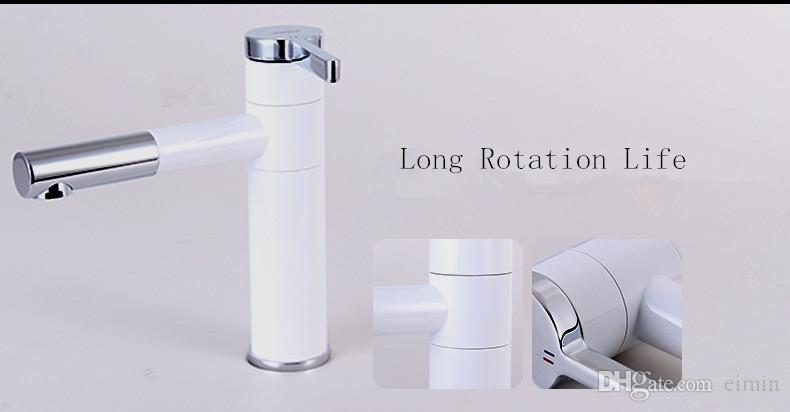 Weiße Farbe Wasserhahn Zähler rotierenden Wasserhahn Kalt-und Warmwasserhahn Keramik-Patrone Wasserhahn China 2016NEW