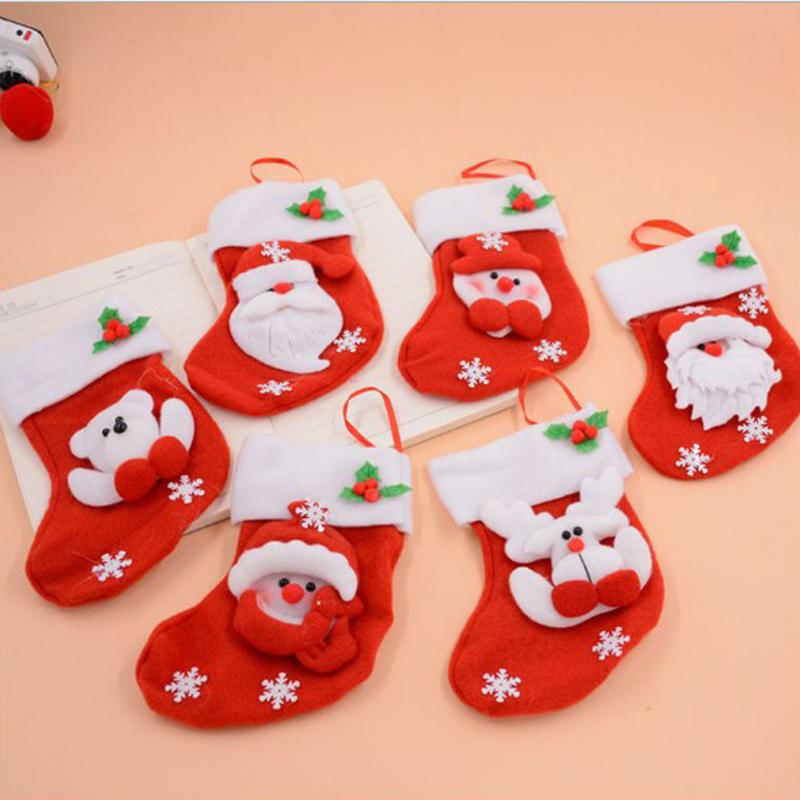 Natale con Cap Party Door Window Decor Gift Bag Calza Regali di Natale Calzino appeso Ornamenti per l'albero di Natale Candy Bag