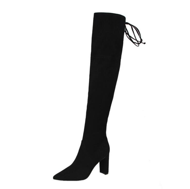 9d6f05878d8 Women Faux Suede Thigh High Boots Fashion Over the Knee Boot Stretch Flock  Sexy Overknee High Heels Woman Shoes Black Red Gray