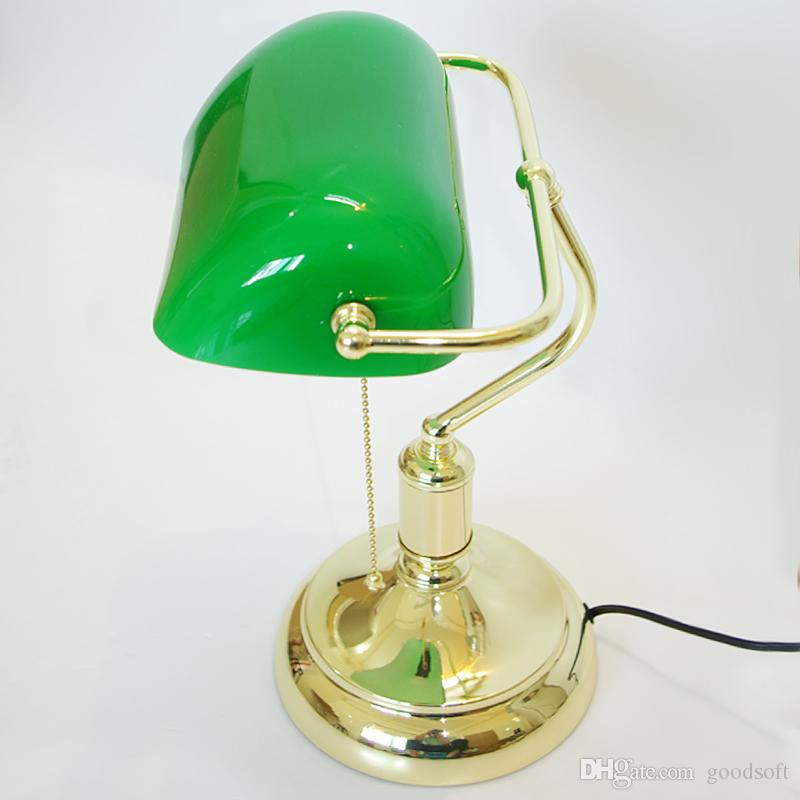 Vintage Bank Table Lamps Retro Brass Bankers Lamp Green Glass Lampshade Office Study Room Table Lamps Desk Lamp